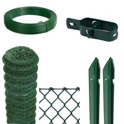 KIT per recinzione a rotoli a rete romboidale plastificata